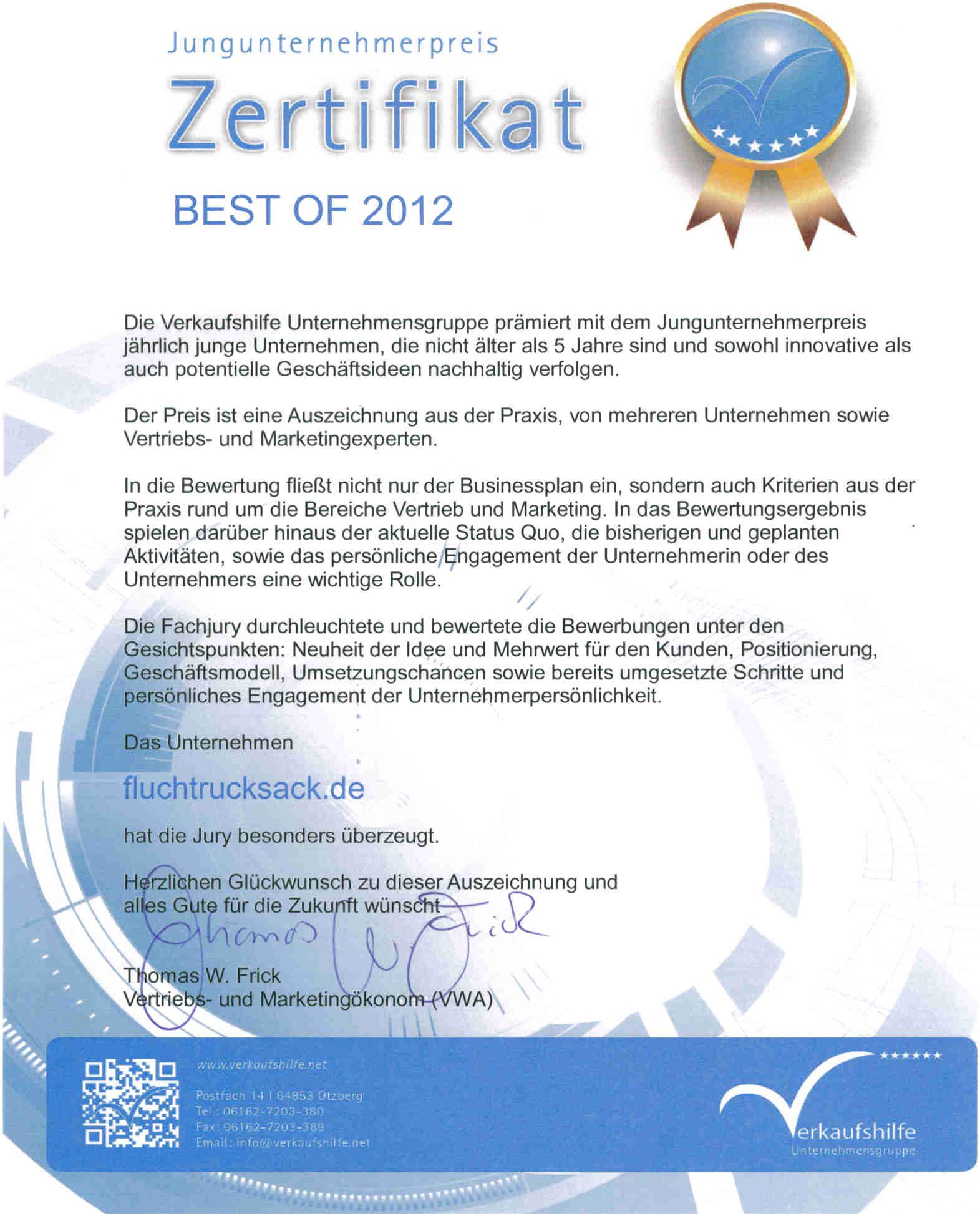 Jungunternehmerpreis 2012